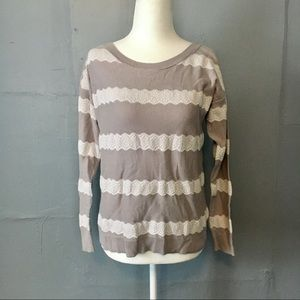 American Eagle lace stripe pullover sweater